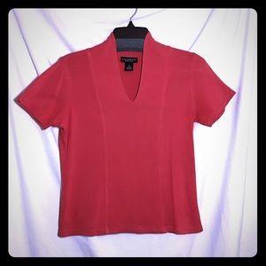 Rafaela Petites Small Red Top V-neck Short Sleeves